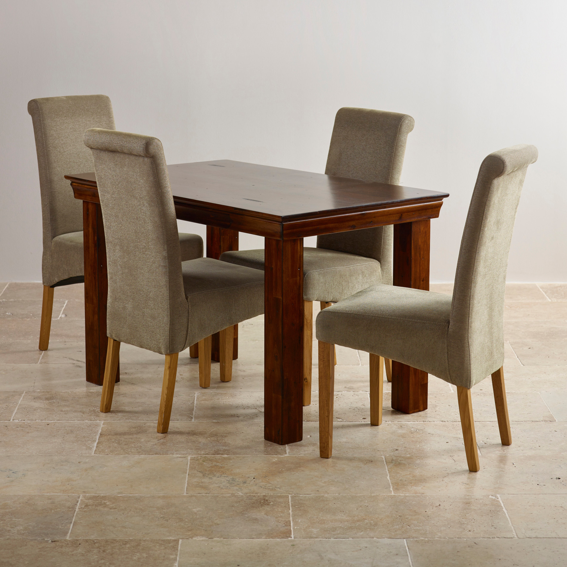 Hardwood Dining Set: Victoria Extending Dining Set In Acacia: Table + 4 Chairs