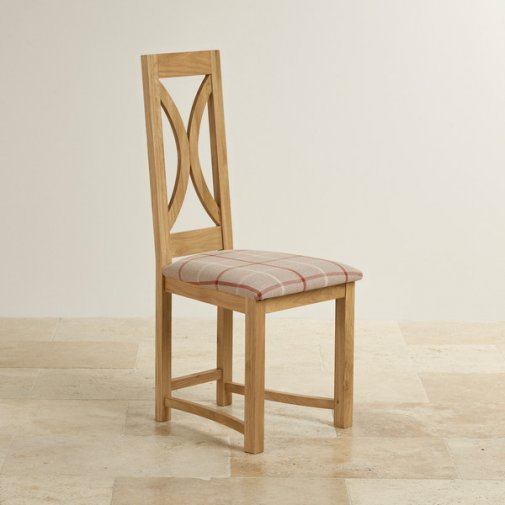 Loop Back Natural Solid Oak and Check Natural Fabric Dining Chair