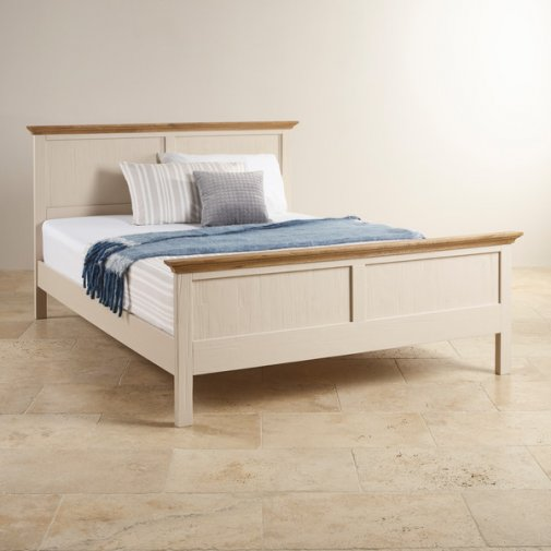 """Seychelles Painted and Brushed Solid Oak 4ft 6"""" Double Bed"""