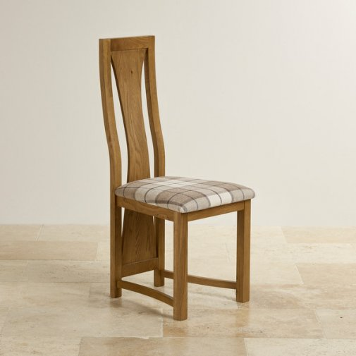 Waterfall Rustic Solid Oak and Brown Checked Fabric Dining Chair