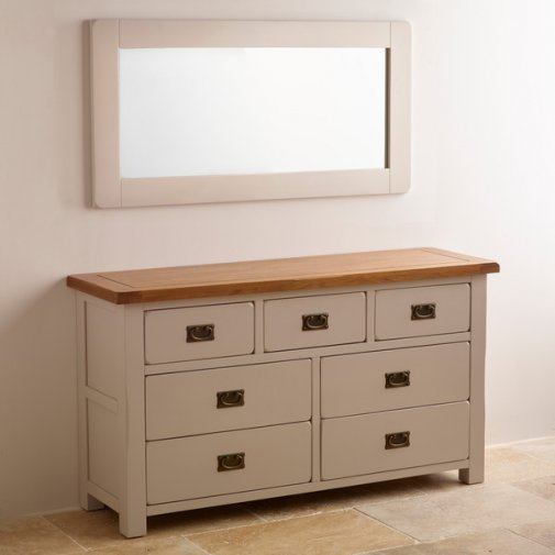 Kemble Rustic Solid Oak and Painted 1200mm x 600mm Wall Mirror
