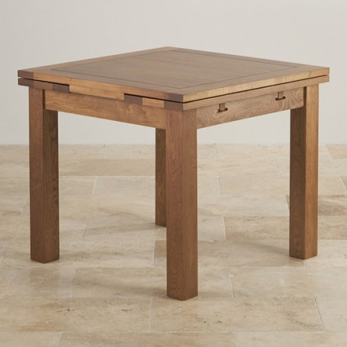 Rustic Solid Oak 3ft x 3ft Extending Dining Table
