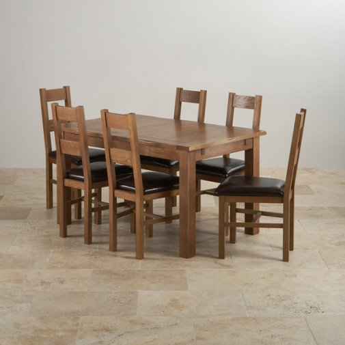 """Rushmere Rustic Solid Oak 4ft 7"""" Extending Table with 6 Farmhouse and Brown Leather Chairs"""