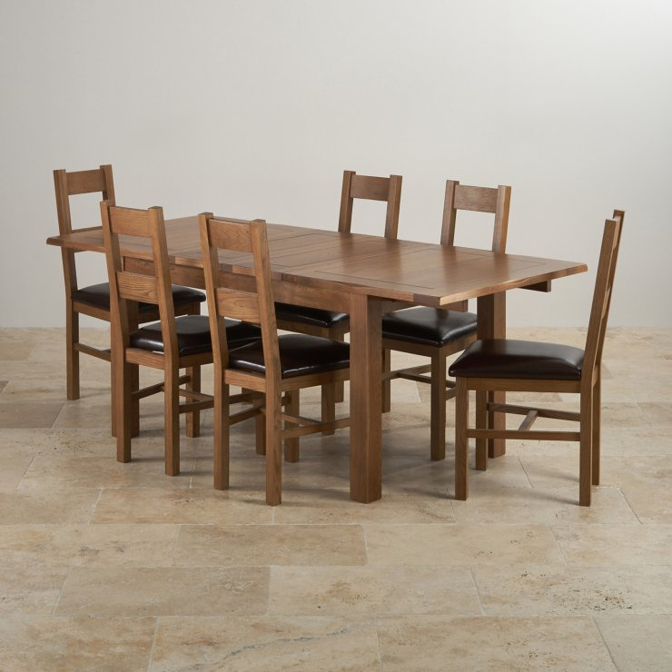 Cairo Extending Dining Set In Oak Table 6 Leather Chairs: Rushmere Extending Dining Table In Rustic Oak + 6 Leather