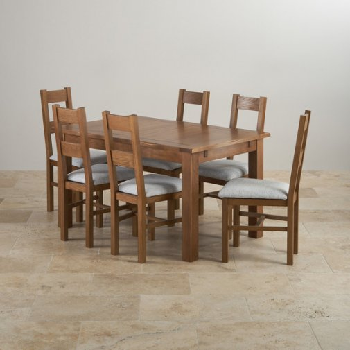 Rushmere Rustic Solid Oak Dining Set - 4ft 7 Extending Table With 6 Farmhouse and Grey Fabric Chairs