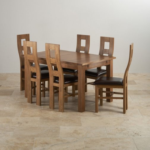 """Rushmere Rustic Solid Oak 4ft 7"""" Extending Table with 6 Wave Back and Brown Leather Chairs"""