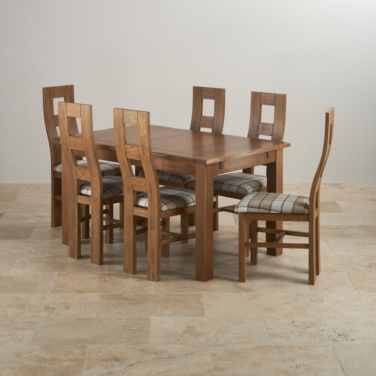 """Rushmere Rustic Solid Oak 4ft 7"""" Extending Table with 6 Wave Back and Check Brown Fabric Chairs"""