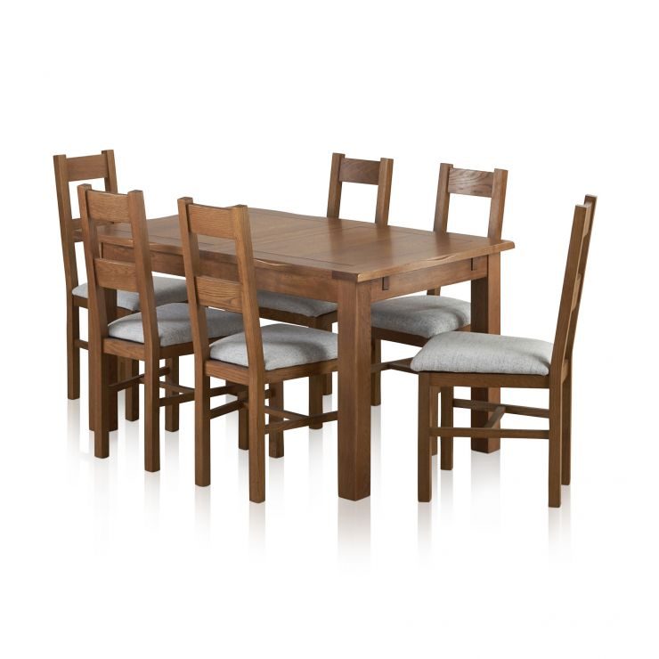 Rushmere Rustic Solid Oak Dining Set - 4ft 7 Extending Table With 6 Farmhouse and Grey Fabric Chairs - Image 9