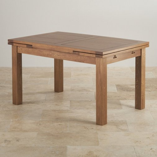 "Rustic Solid Oak 4ft 7"" x 3ft Extending Dining Table"