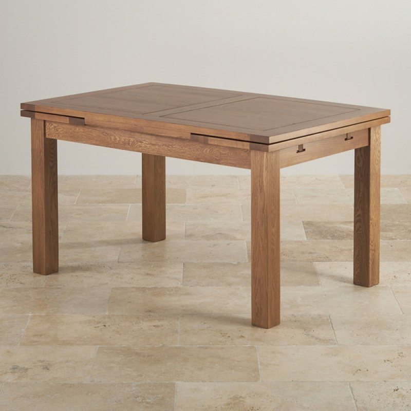 4ft 7 X 3ft Rustic Solid Oak Extending Dining Table