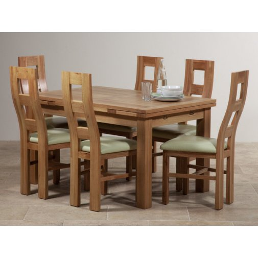 "Dorset Natural Solid Oak Dining Set - 4ft 7"" Extending Table with 6 Wave Back and Cream Leather Chairs"