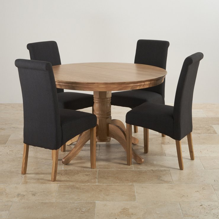 4ft Natural Oak Round Pedestal Dining Table + 4 Scroll Back Black Fabric Chairs