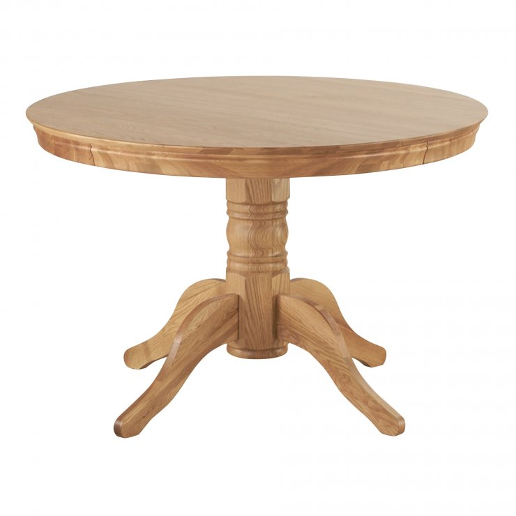 Pedestal Natural Solid Oak 4ft Round Table - Image 6