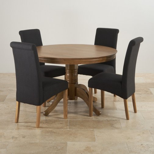 4ft Rustic Oak Round Pedestal Dining Table + 4 Scroll Back Black Fabric Chairs