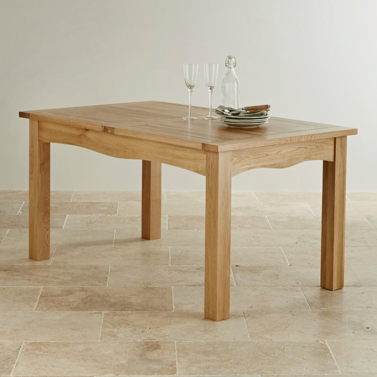 Cairo Natural Solid Oak 5ft x 3ft Extending Dining Table