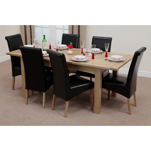 Cairo Extending Dining Set In Oak Table 6 Leather Chairs: Guaranteed Christmas Delivery