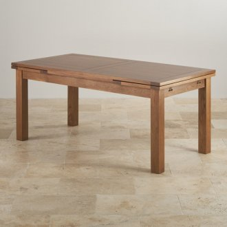 Rustic Solid Oak 6ft x 3ft Extending Dining Table