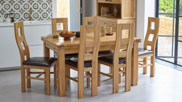 Oak With Leather Dining Chairs