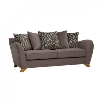 Abbey 3 Seater Pillow Back Sofa in Vixen Ash with Festival Grey Scatters