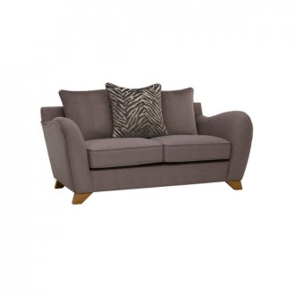 Abbey Traditional 2 Seater Pillow Back Sofa in Vixen Ash with Festival Grey Scatters