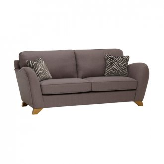 Abbey Traditional 3 Seater High Back Sofa in Vixen Ash with Festival Grey Scatters
