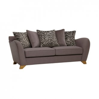Abbey Traditional 3 Seater Pillow Back Sofa in Vixen Ash with Festival Grey Scatters