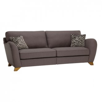 Abbey Traditional 4 Seater High Back Sofa in Vixen Ash with Festival Grey Scatters