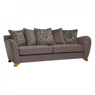 Abbey Traditional 4 Seater Pillow Back Sofa in Vixen Ash with Festival Grey Scatters