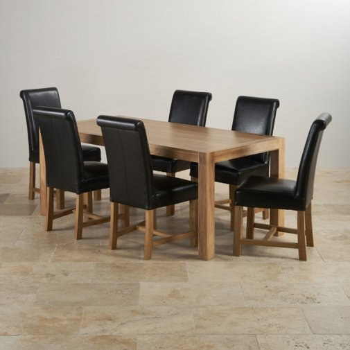 Alto Natural Solid Oak Dining Set - 6ft Table with 6 Braced Scroll Back Black Leather Chairs