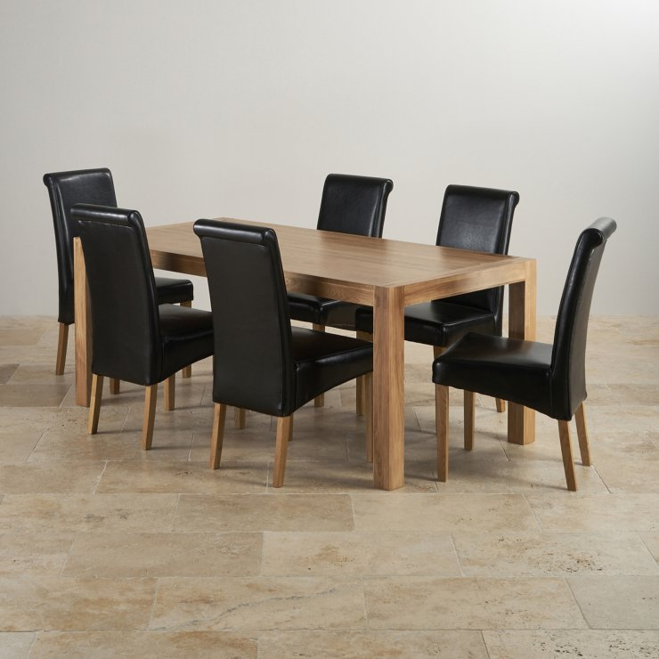 Alto Natural Solid Oak 6ft x 3ft Dining Table + 6 Black Scroll back chairs
