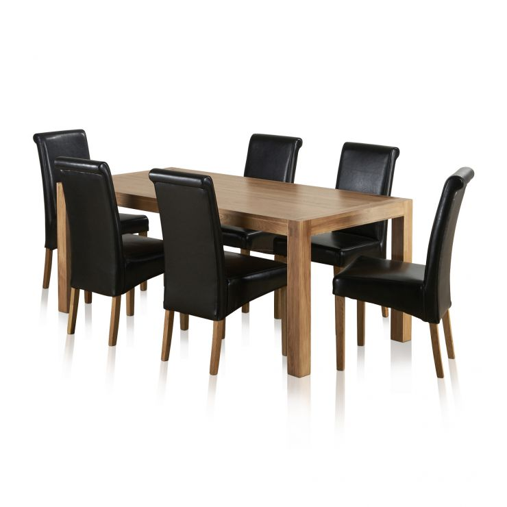 Alto Natural Solid Oak 6ft x 3ft Dining Table + 6 Black Scroll back chairs - Image 6
