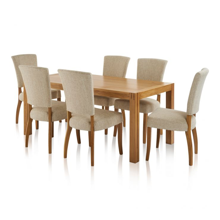 Alto Natural Solid Oak 6ft Table with 6 Upholstered Curve Back Chairs