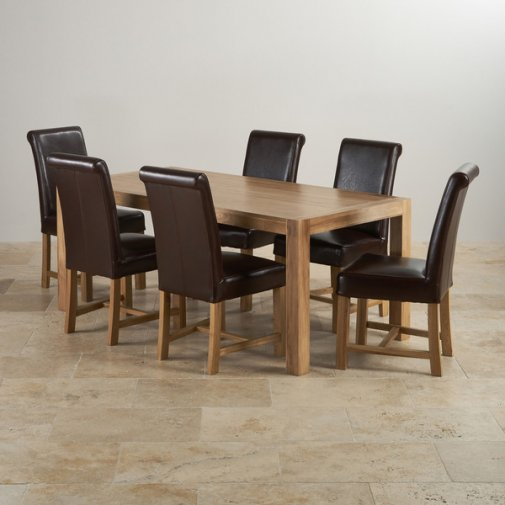Alto Natural Solid Oak Dining Set - 6ft Table + 6 Brown Leather Chairs