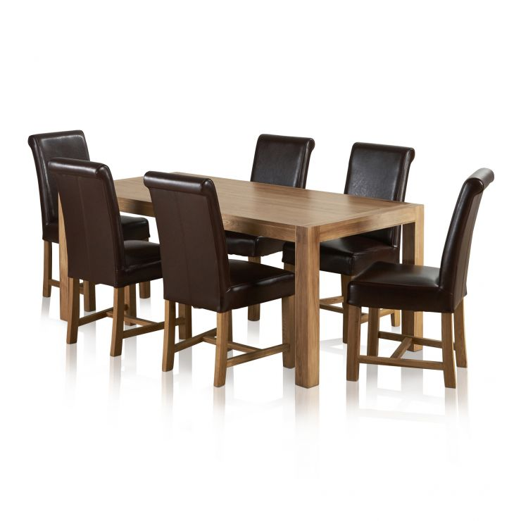 Alto Natural Solid Oak Dining Set - 6ft Table + 6 Brown Leather Chairs - Image 6