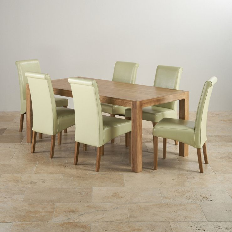 Alto Natural Solid Oak Dining Set - 6ft Table with 6 Scroll Back Cream Leather Chairs