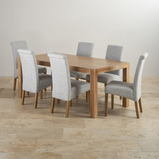 Express Delivery Alto Natural Solid Oak Dining Set   6ft Table With 6  Scroll Back Plain Grey Fabric