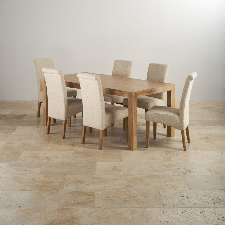 Alto Natural Solid Oak Dining Set - 6ft Table with 6 Scroll Back Plain Beige Fabric Chairs