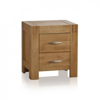 Alto Natural Solid Oak 2 Drawer Bedside Table