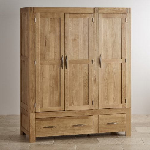 Alto Natural Solid Oak Triple Wardrobe