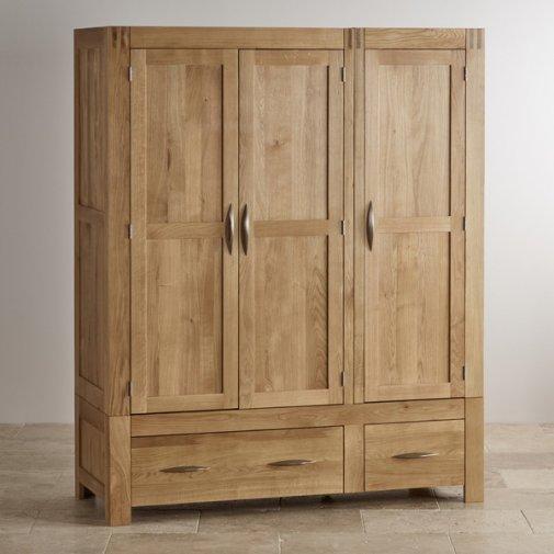 Alto Natural Solid Oak Triple Wardrobe