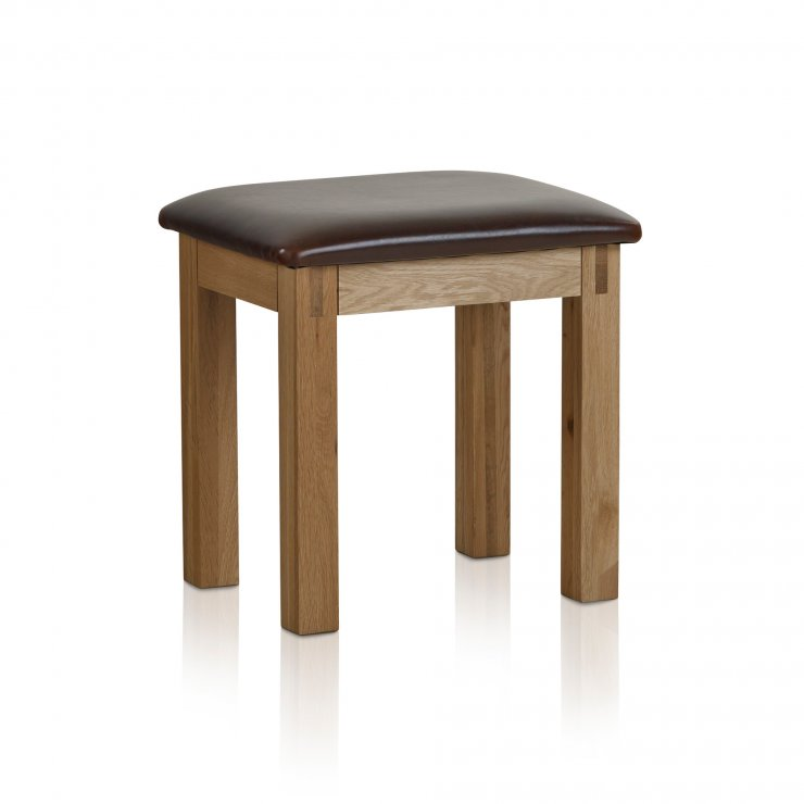 Alto Natural Solid Oak and Leather Dressing Table Stool - Image 3