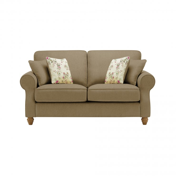 Amelia 2 Seater Sofa in Polla Silver with Rippon Plum Scatters - Image 1