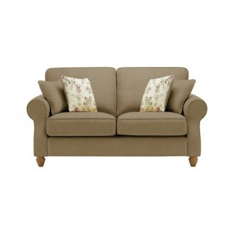 Amelia 2 Seater Sofa in Polla Silver with Rippon Plum Scatters