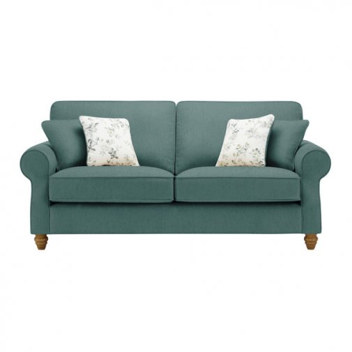 Amelia 3 Seater Sofa in Polla Cornflower with Rippon Natural Scatters