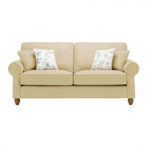Amelia 3 Seater Sofa in Polla Meadow with Rippon Natural Scatters