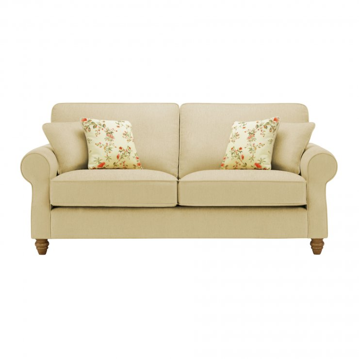 Amelia 3 Seater Sofa in Polla Meadow with Rippon Rose Scatters