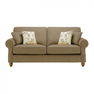 Amelia 3 Seater Sofa in Polla Silver with Rippon Plum Scatters