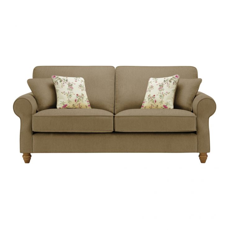 Amelia 3 Seater Sofa in Polla Silver with Rippon Plum Scatters - Image 1