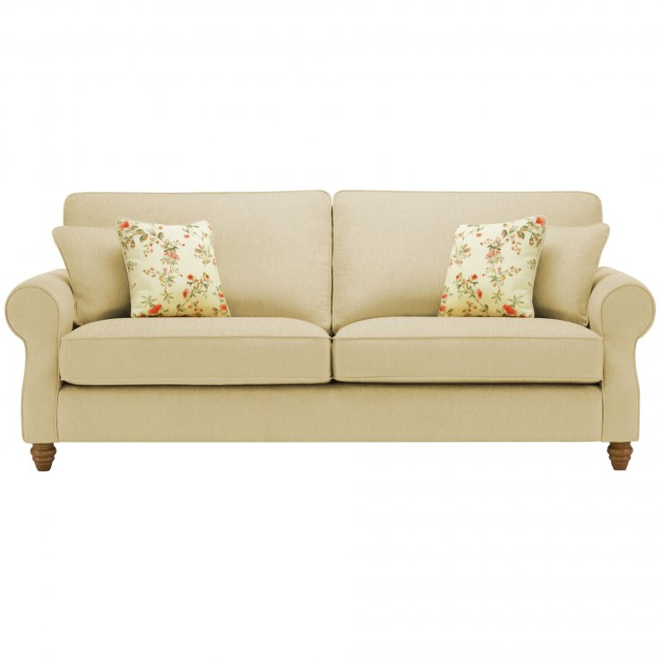 Amelia 4 Seater Sofa in Polla Meadow with Rippon Rose Scatters - Image 1
