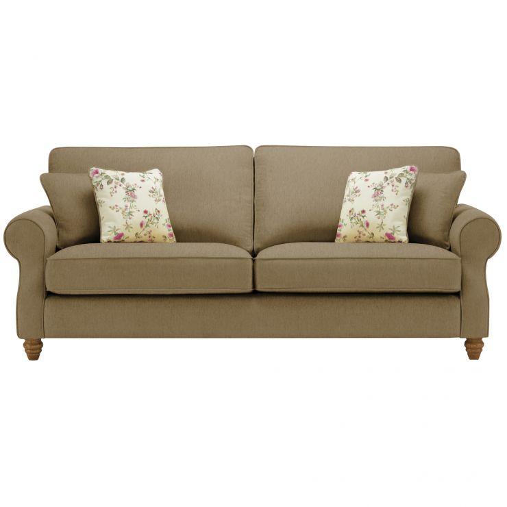 Amelia 4 Seater Sofa in Polla Silver with Rippon Plum Scatters - Image 1